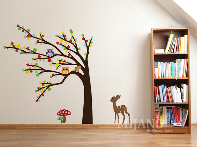wandtattoo wandsticker wandaufkleber eulen auf baum bambi pilz kinderzimmer deko ebay. Black Bedroom Furniture Sets. Home Design Ideas