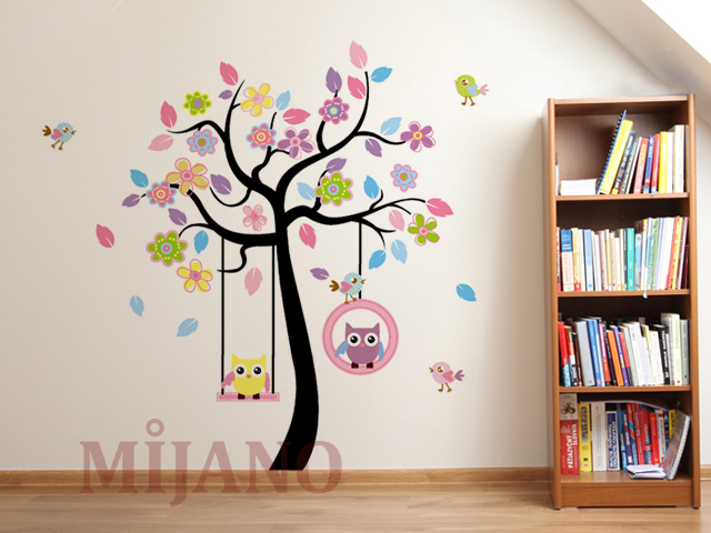 wandtattoo eulen auf schaukel wandsticker wandaufkleber kinderzimmer deko baum. Black Bedroom Furniture Sets. Home Design Ideas
