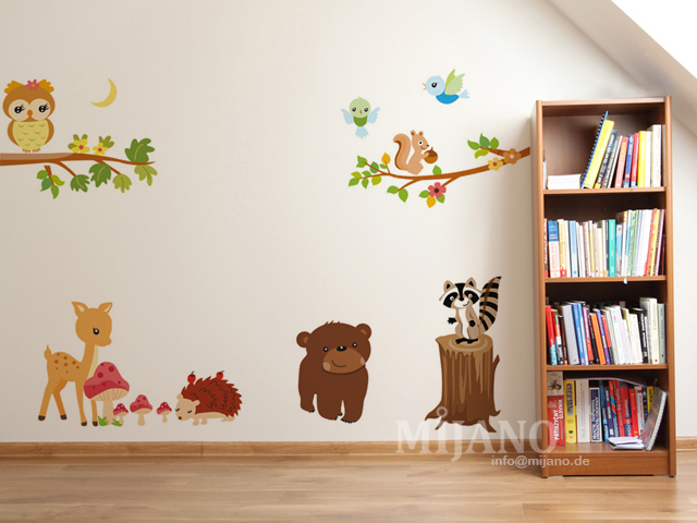 wandtattoo wandsticker wandaufkleber eulen auf baum waldtiere kinderzimmer deko ebay. Black Bedroom Furniture Sets. Home Design Ideas